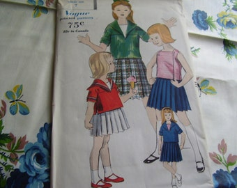 Vintage 1960's Vogue 5144 Dress and Sleeveless Overblouse Sewing Pattern, Size 7, Breast 25
