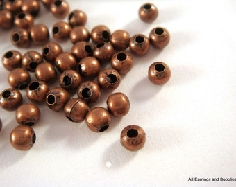 100 Antique Copper Metal Bead Plated Iron Spacer Bead 3mm Round 1mm hole No Nickel - 100 pc - M7013-AC100