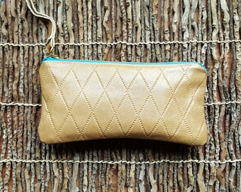 SummerFun Collection_Pebble Tan / Teal Blue Zip / Leather Clutch / Leather Pouch / Leather Purse / Leather Eyeglass Case