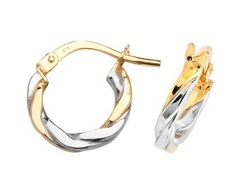 9ct Yellow & White Gold 8mm Twisted Flat Hoop Earrings