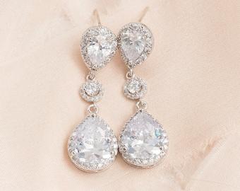 Crystal Teardrop Bridal Earrings, Long Crystal Wedding Earrings, CZ Earrings, Bridal Jewellery