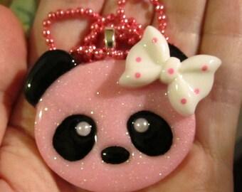Pink Panda Bear Necklace-Kawaii Panda Jewelry-Handmade Resin Pendant Jewelry