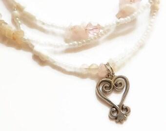 Rose Quartz  Sankofa Waist Beads, Womb Wellness Moonstone Waist Beads, Adinkra Waist Beads, Feminine  Belly Chain, African Belly Beads