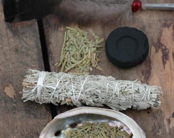 Smudge Kit with Sage, Feather, Cedar, Sweetgrass, Charcoal, Abalone Shell Ceremony, Meditation, Cleansing, Positive Energy, Beginner's Kit