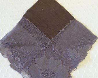 Brown Floral Mesh Hanky, Floral Handkerchief