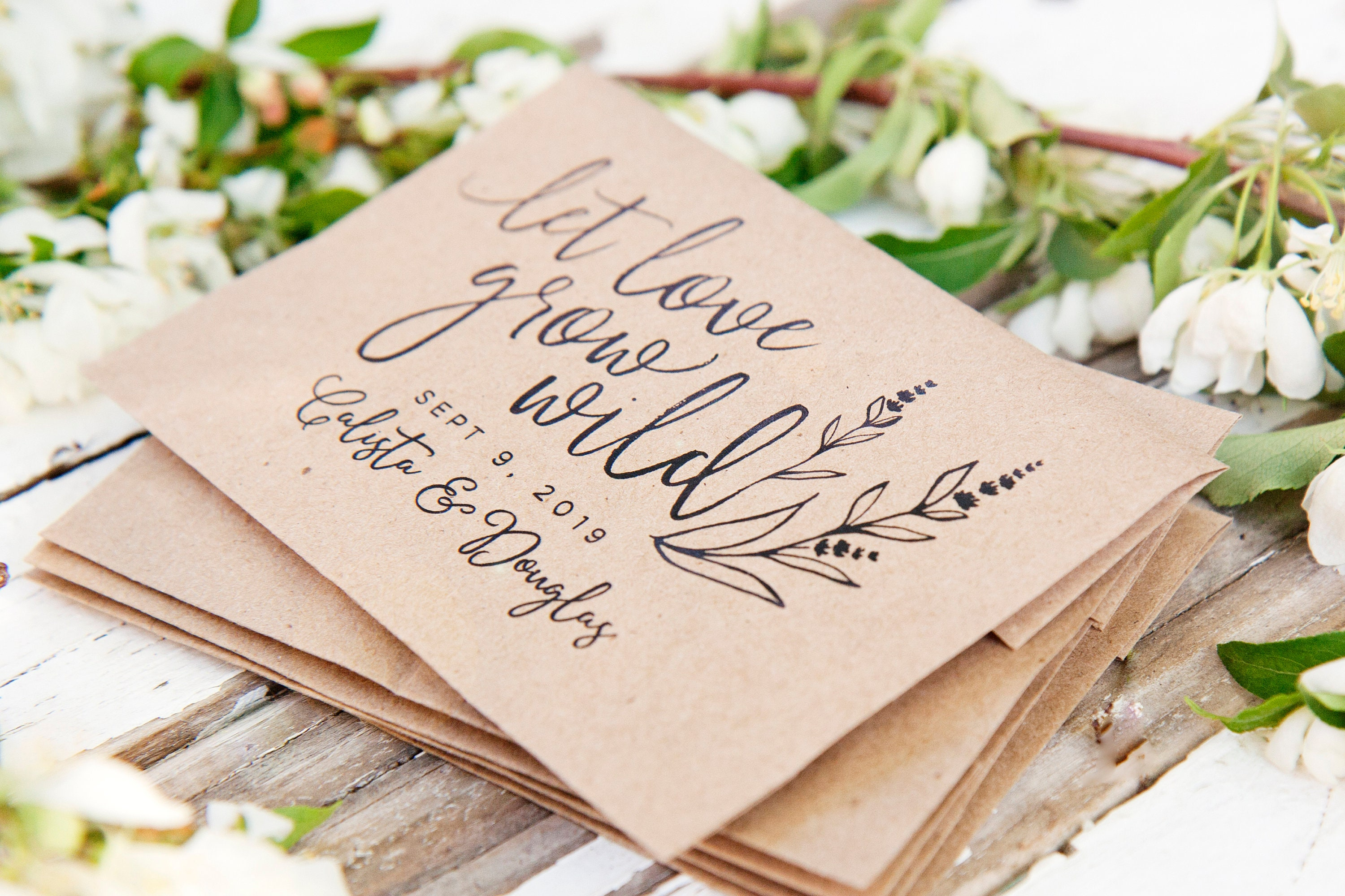 Let Love Grow Wild Personalized Wedding Favor Bag with Seeds