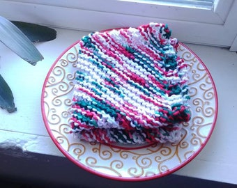 Knitted Dishcloth/Washcloth -- Green, Red, White Variegated Yarn
