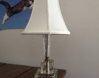 Vintage Glass Boudoir Lamp