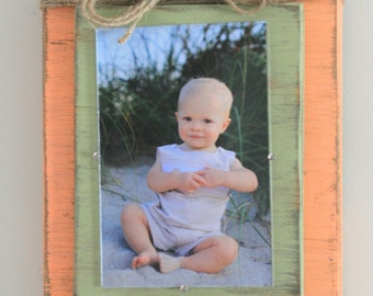 Distressed Handmade Picture Frame - Peach & Green with Twine