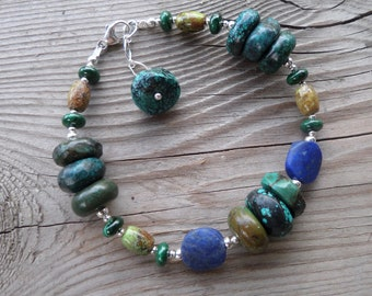 The 'Master Healer'- Turquoise, Gaspeite, Lapis, and Malachite with Sterling Silver Gemstone Bracelet