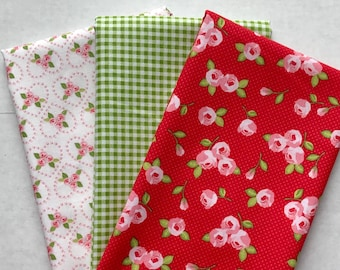 Quilting Bundle - Kewpie from Riley Blake Designs Red Floral with Pink Roses and Hearts - Optional Trims Shown  - FWM