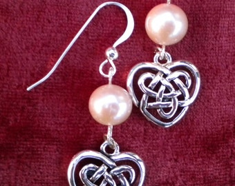 Earrings Silver Celtic Hearts and Pearls - A Stor Mo Chroi - FREE SHIPPING