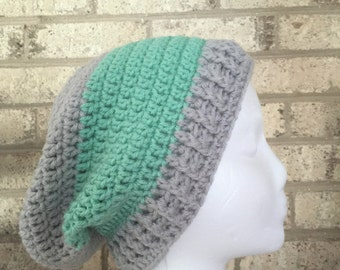 Ready To Ship Slouchy Hat Slouchy Beanie Gray and Ocean Crochet Hat Beanie Women's Crochet Hat Accessories Gifts For Her