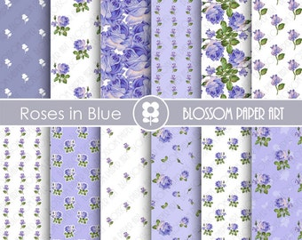 Blue Roses Digital Paper Pack, Scrapbooking, Floral Papers, Blue Papers - Vintage Designs - 1773