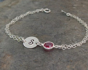 Personalized bracelet, October birthstone, Personalized birthstone bracelet, Initial bracelet, Bridesmaid bracelet, Bridesmaid jewelry