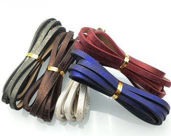 120cm strap faux leather shiny iridescent, 3 color 5mm