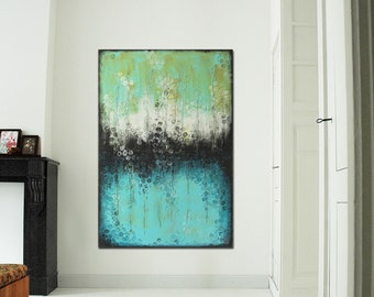 "Original Abstract Painting- Large Acrylic Blue Turquoise Painting 47.2""x31.5""- Original Art - Canvas Wall art - Ready to Hang- Ronald Hunter"