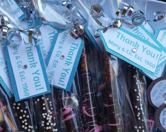 Gourmet chocolate covered pretzels with personalized favor tags!