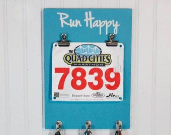 Carved Running Medal Holder - Medal Display - Race Medal Holder - Run Happy