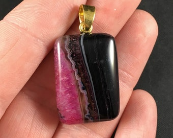 Black and Pink Druzy Agate Stone Pendant Necklace