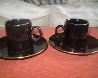 Vintage Nescafe Espresso cups - black and gold - very like Biba!