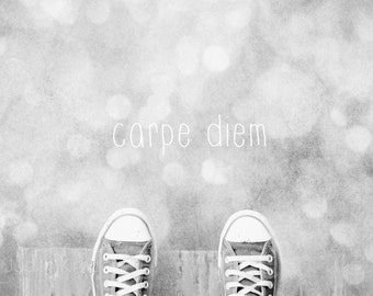 Inspirational Photography - Carpe Diem Shoe Print - Seize the Day - Converse Photograph - 8x10
