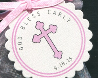 Baby Girls Personalized Baptism Favor Tags, Christening Favor Tags,  Communion Favor Tags, Pink Cross, Set Of 50