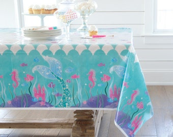 Mermaid Party Tablecover/ Purple Mermaid Party Tablecover/ Mermaid Tablecover