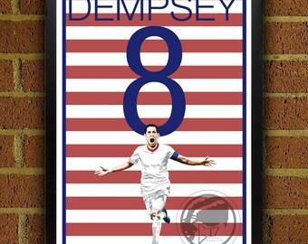 Clint Dempsey 8 Poster - USMNT - USA Soccer Poster- 8x10, 13x19, poster, art, wall decor, home decor