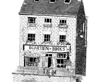 Scarthin Books - illustrated art print.