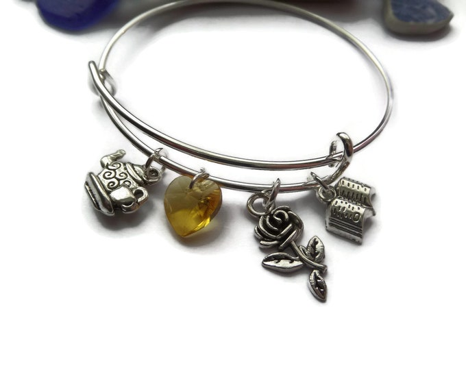 PRINCESS BELLE - Beauty & the Beast inspired 4 charm bangle bracelet - party bag fillers - gift - xmas - jewellery