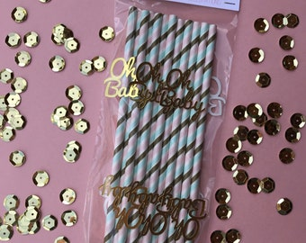 """Gold """"Oh Baby"""" Straws- Set of 12"""
