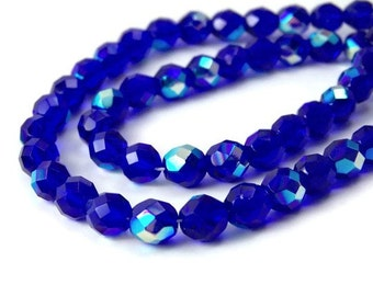 8mm Czech glass beads, Cobalt Blue with Aurora Borealis finish, faceted round, Full & Half Strands Available  (169F)