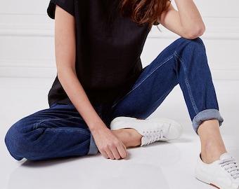 Linen crop top. Loose top. Linen t shirt. Linen tank. Round neck shirt. Loose but elegant blouse.