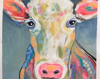 Cow Painting Abstract Original Painting on 19 x 18 on Watercolor Paper by Karen Fields