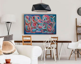 Mid Century Modern Art Print Abstract Painting Large Painting Original Expressionist Painting Mid Century Painting Blue Painting Original