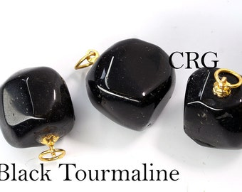 Tumbled BLACK TOURMALINE Pendant with Gold Bail (TU10DG)