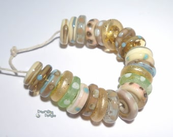 SEASIDE - Handmade Lampwork Beads  - Ivory Topaz Gold Aqua  - Beach Colors Discs - Organic