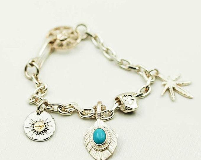 Turquoise Charm Bracelet   Tribal Silver Charm   Boho Bracelet   Gold Charm Bracelet   Flying Bird Charm   Bohemian Silver Feather Charm