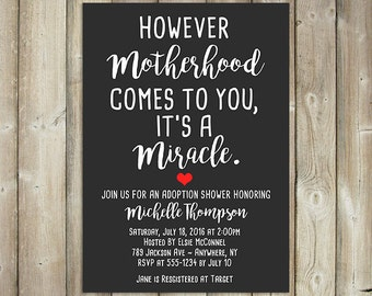 Adoption Shower Invitation - Motherhood Miracle - DIGITAL FILE