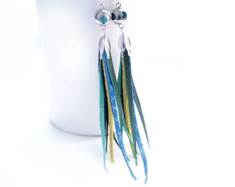 leather tassel earrings , fringe leather earrings, leather long dangle earrings blue earrings, coctail jewelry, leather jewelry