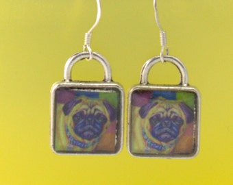 Pug Earrings Dog Puppy Picture 3D Dimensional Jewelry Pet Silver