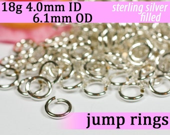 18g 4.0mm ID 6.1mm OD silver filled jump rings -- 18g4.00 open jumprings