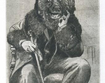 """Engraving """"Mr.Oscar bear"""" / Gentleman/Mr. Bear/bear/Baren/ursidi/bear/printmaking/engraving/print art/beautiful/etching/art print"""