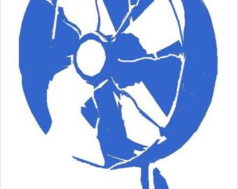 Fan Stencil Different Sizes Available, Retro Fan, Retro fan stencil