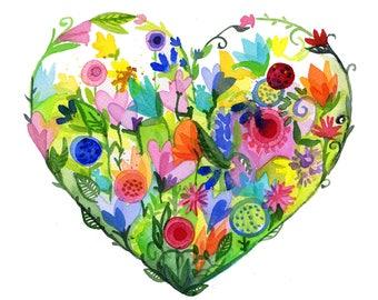 Love Grows Print high quality giclee art floral heart  watercolor Lauren Ingraham
