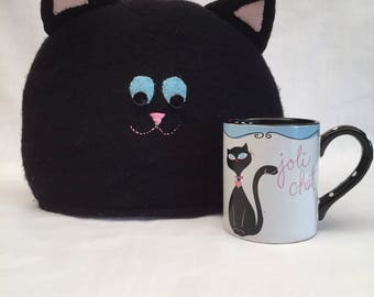 Tea Cozy, Felted Wool, Black Cat, Upcycled Wool, Kitchen Decor
