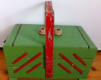 Sewing box sewing box sewing box wooden sewing box mid century