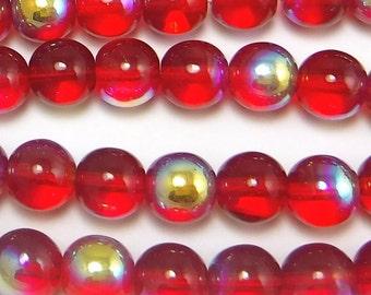 50 pcs 8 mm Glass Beads Red Ab Round Czech Druk B-80