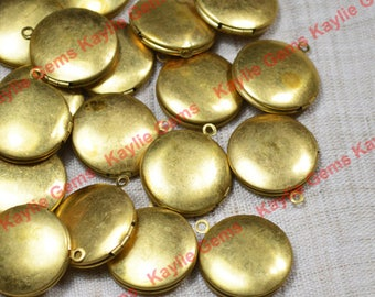 Sale - 50 Pieces Round Locket 20mm Raw Brass Plain Smooth